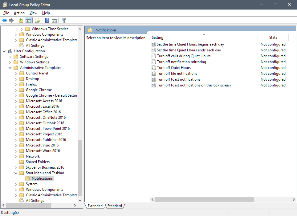quiet hours group policy