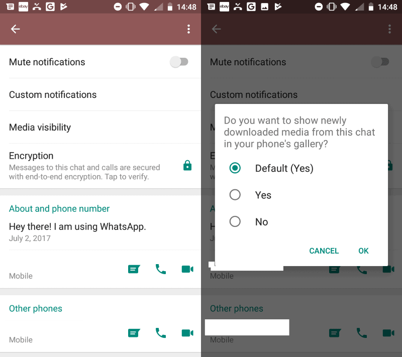 WhatsApp: hide media from individual chats in the Gallery