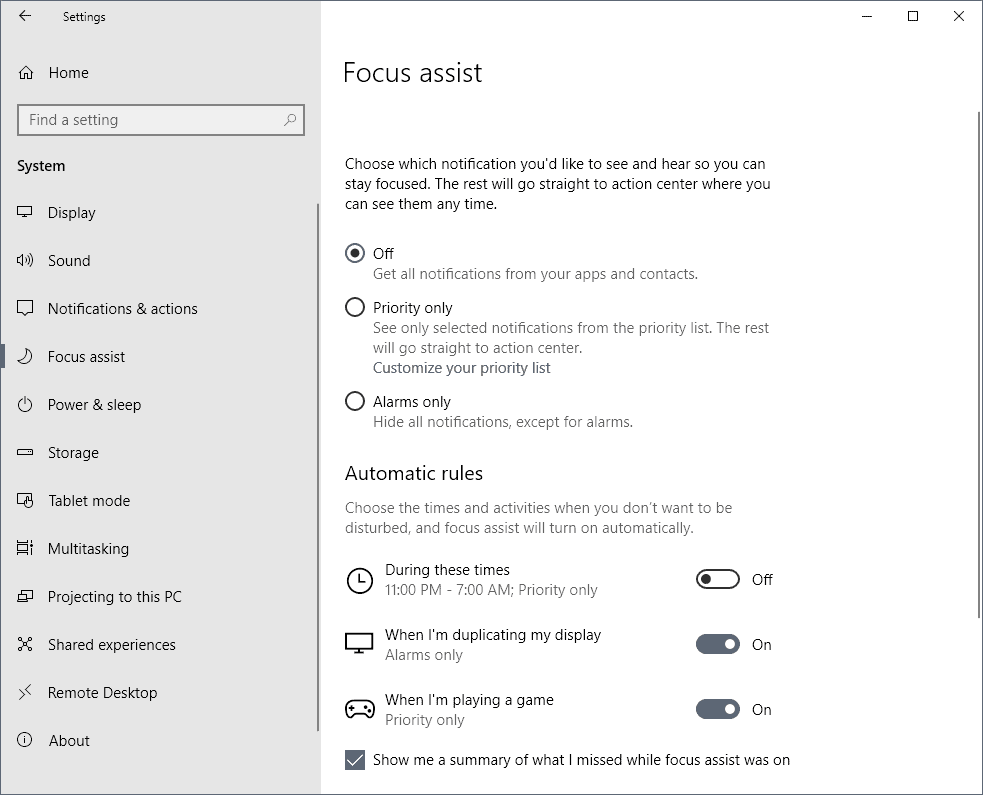 Manage Focus Assist on Windows 10