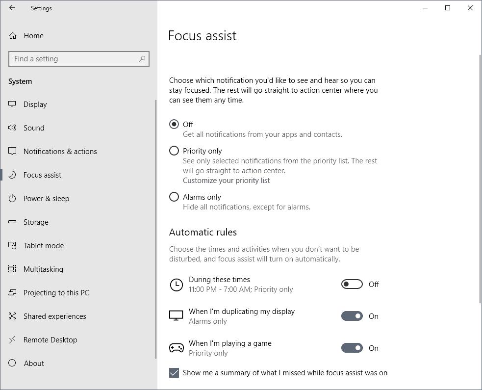 Manage Focus Assist on Windows 10 - gHacks Tech News