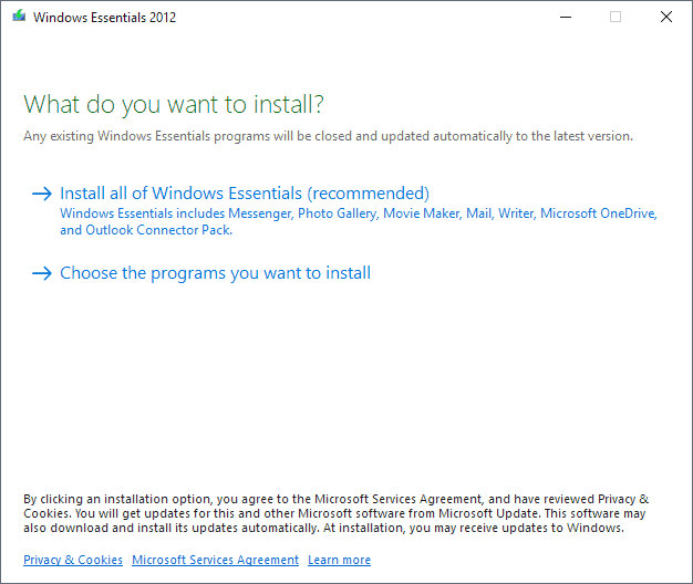 windows essentials 2012 install offline