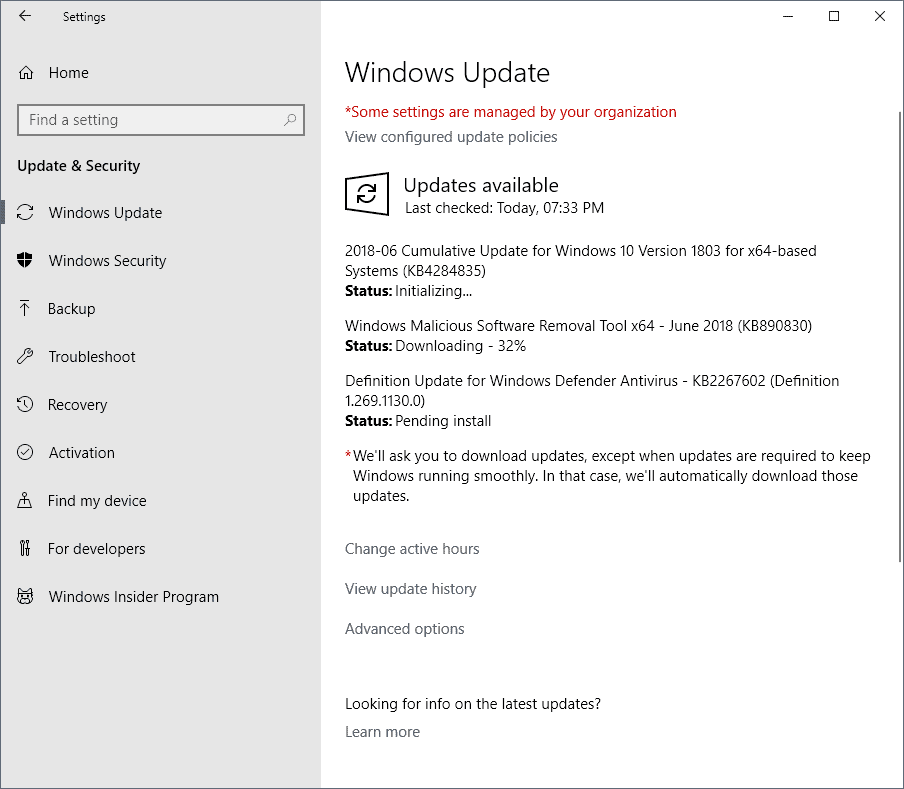 Microsoft Windows Security Updates June 2018 release