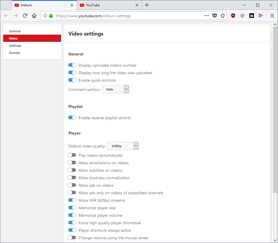 youtube video settings