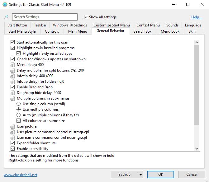classic start options