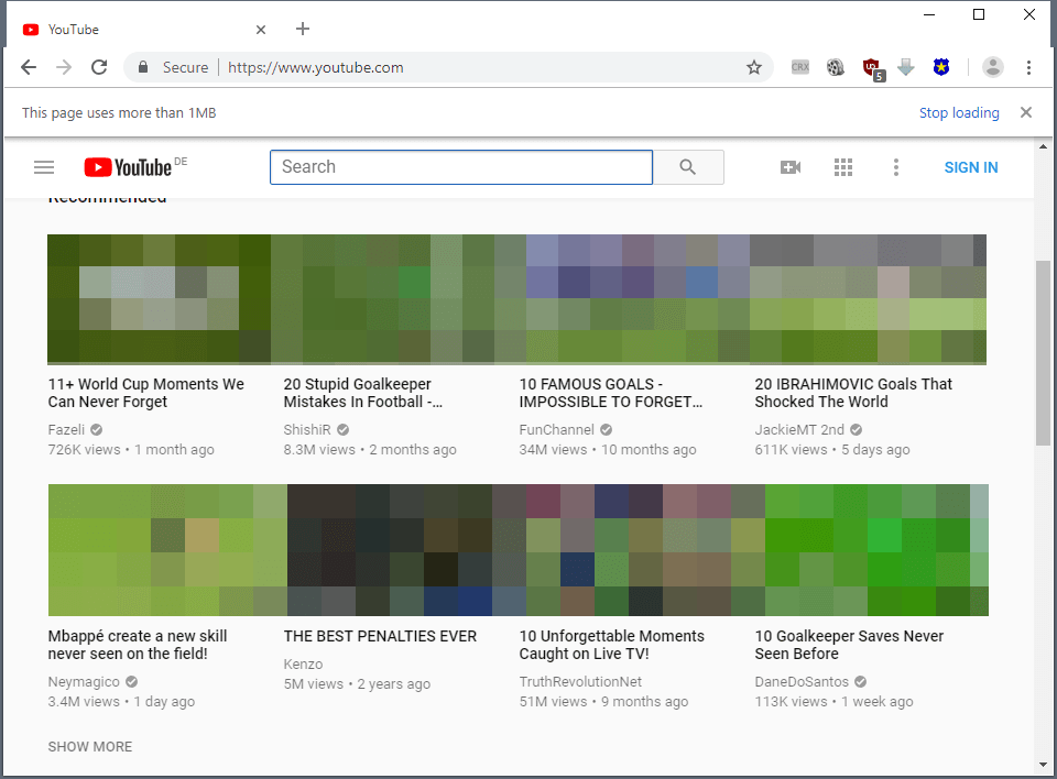 google chrome heavy pages