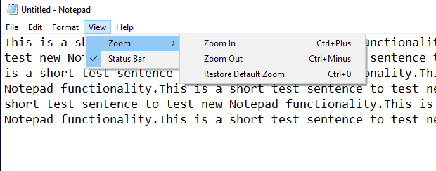 notepad zoom