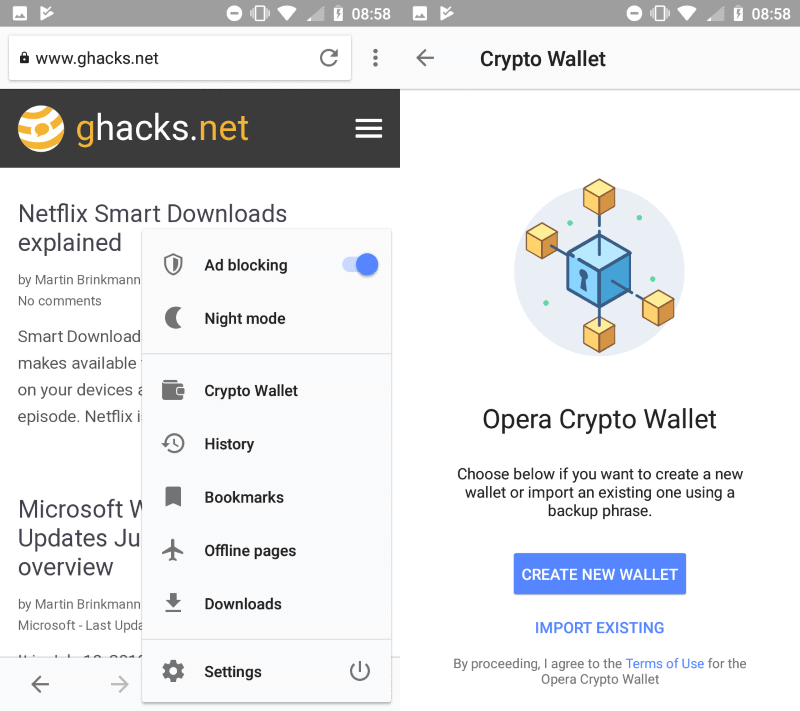 Opera for Android introduces Crypto Wallet