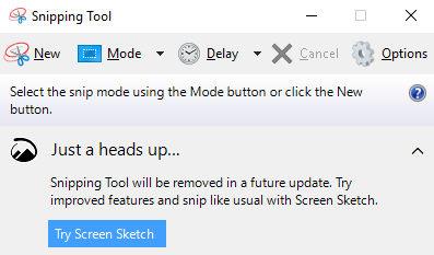 Goodbye Snipping Tool Hello Screen Sketch