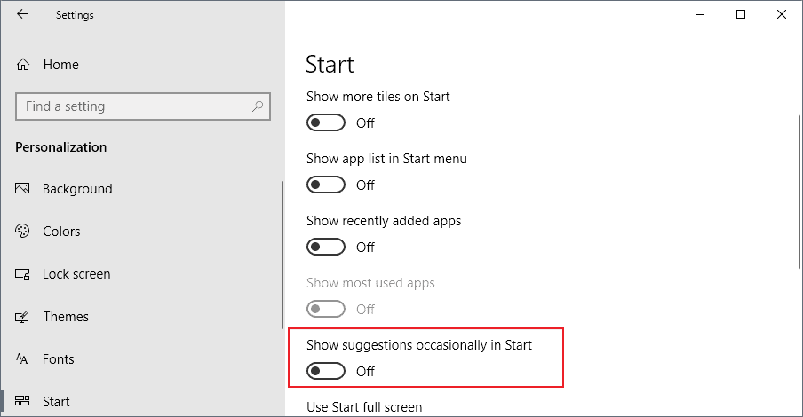 suggestions start windows 10