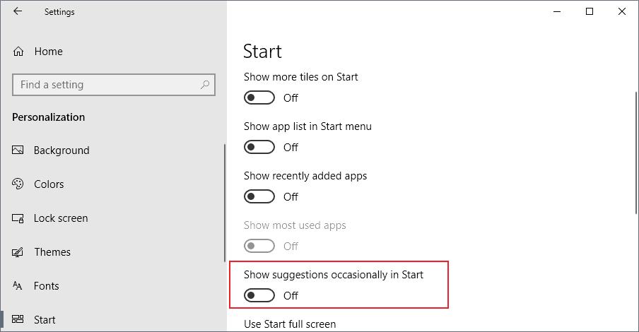 suggestions start windows 10