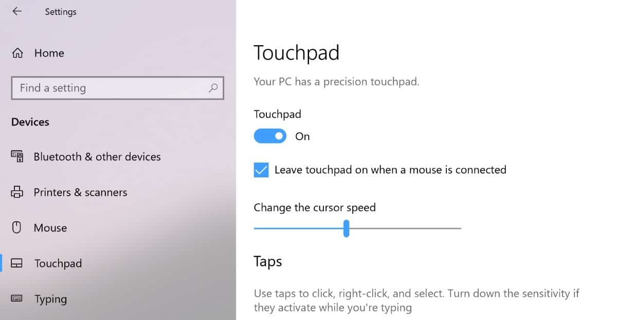 How to disable the touchpad of the Surface Pro