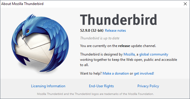 Mozilla Thunderbird 52.9.0 released