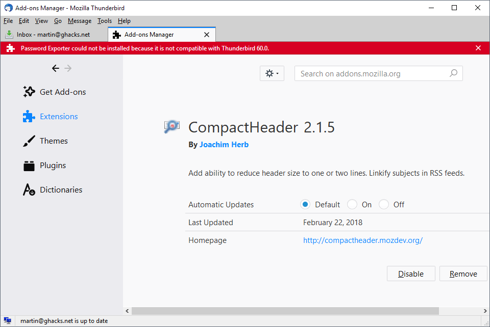 thunderbird 60 extension not compatible