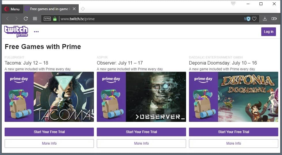 twitch prime july 2018