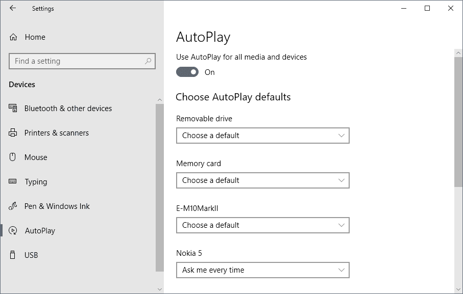 autoplay windows 10 settings