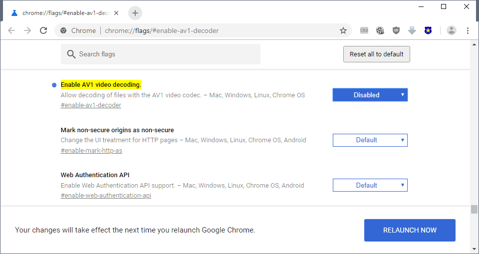 chrome enable av1 video decoder