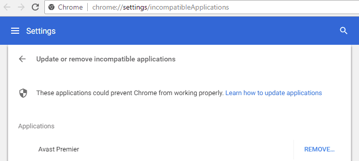 About Google Chrome's incompatible applications warning
