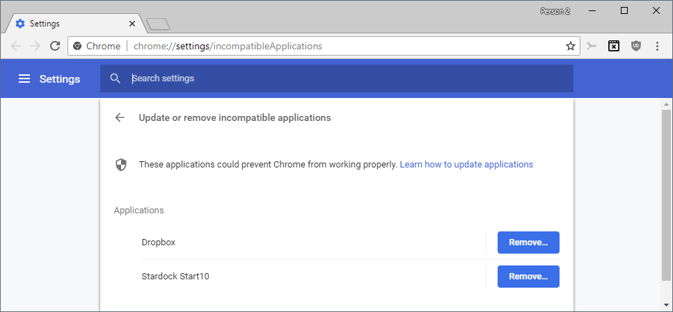chrome incompatible applications