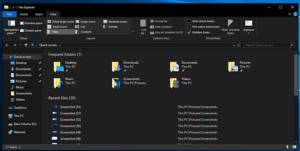 A look at File Explorer's Dark Theme in Windows 10 version 1809