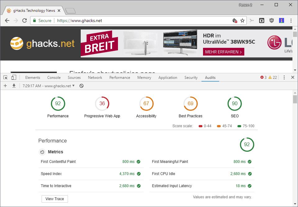 desktop audit site performance seo