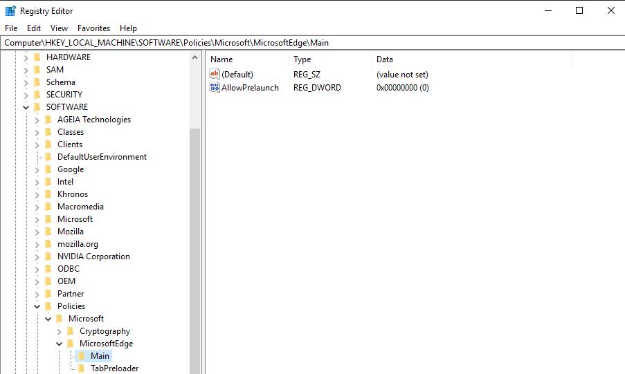 edge allow prelaunch registry