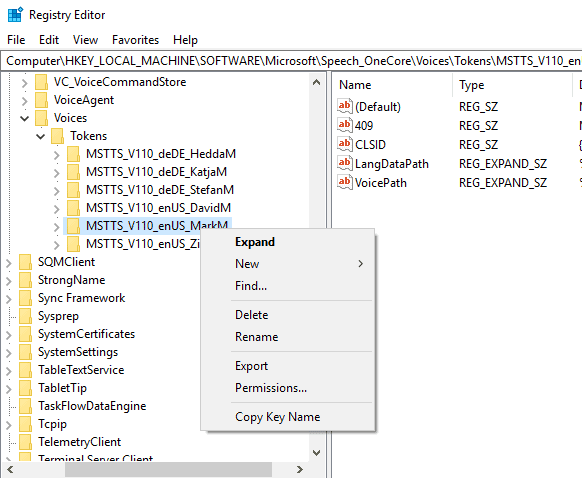 export registry voice
