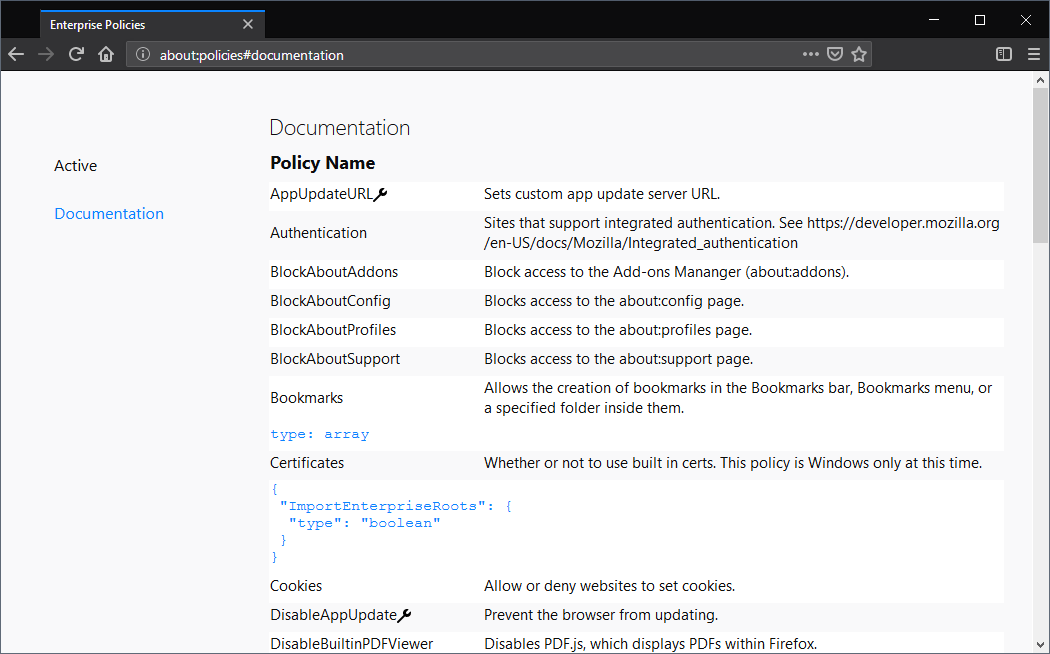 firefox about policies
