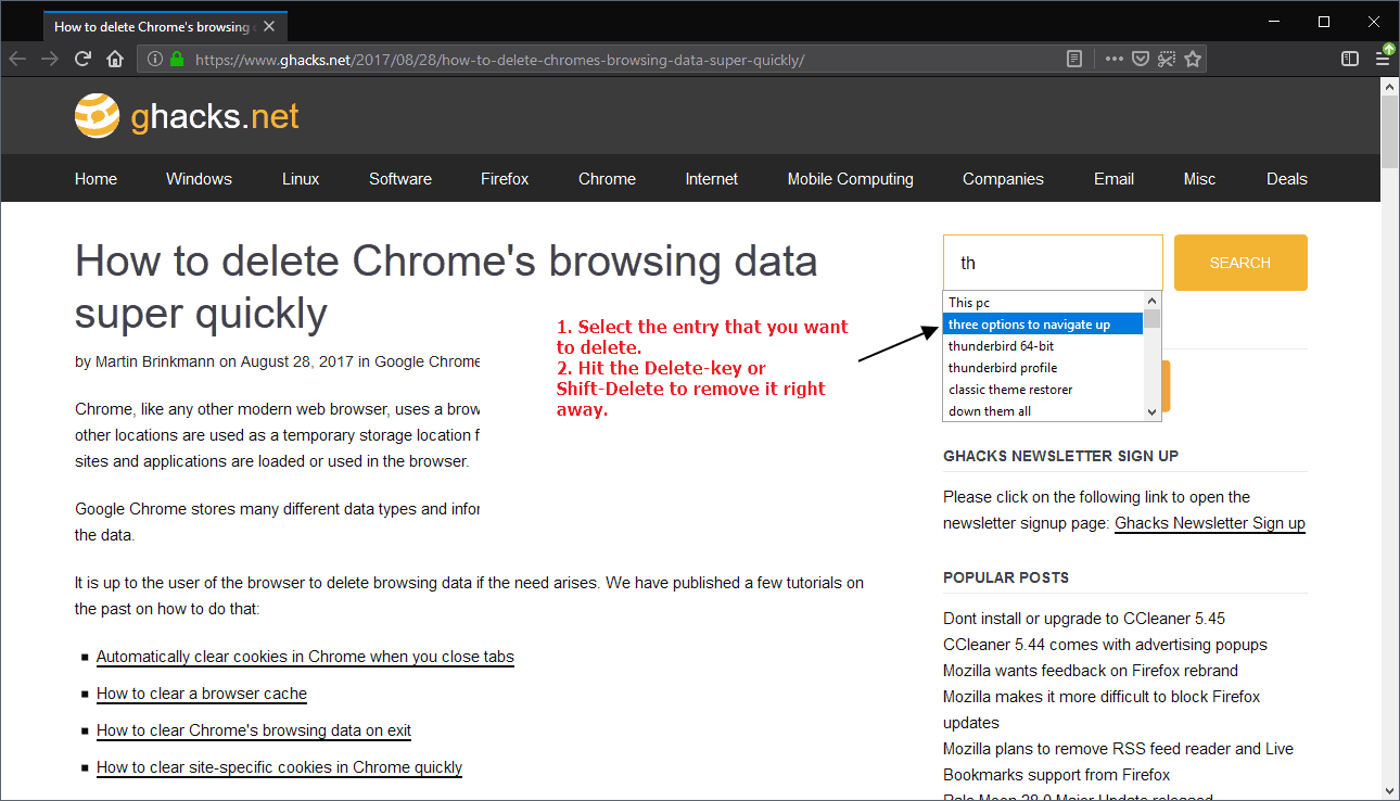 firefox delete suggestions