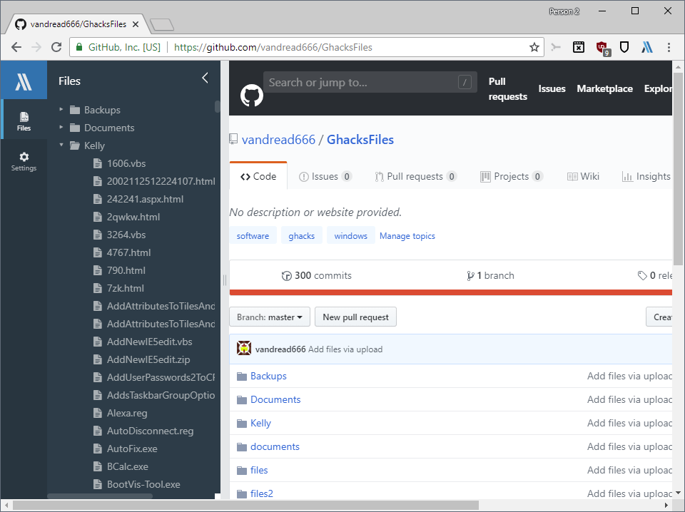 github browse tree directory files