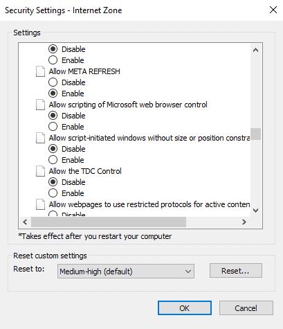 internet explorer meta refresh disable