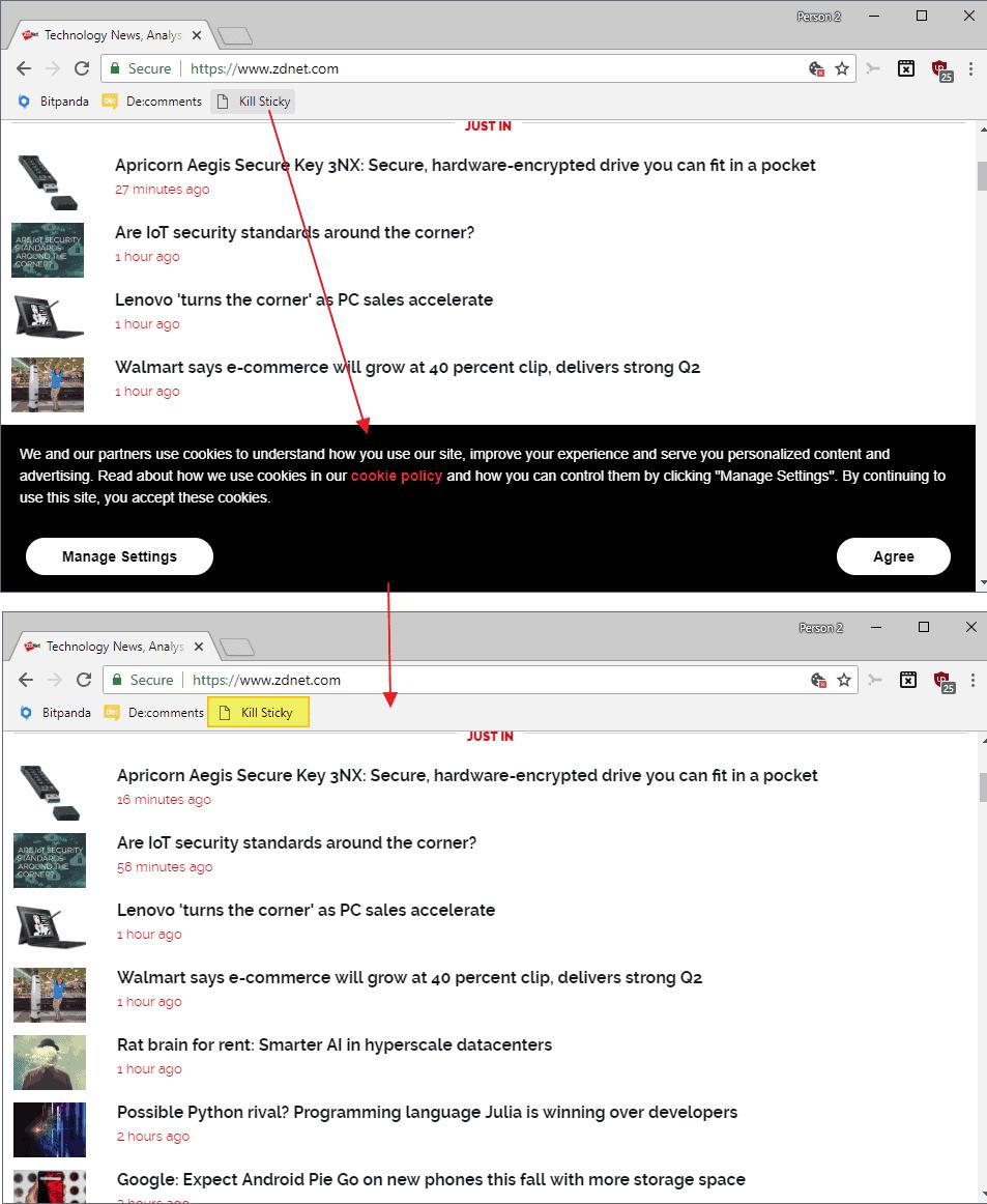 kill sticky elements website