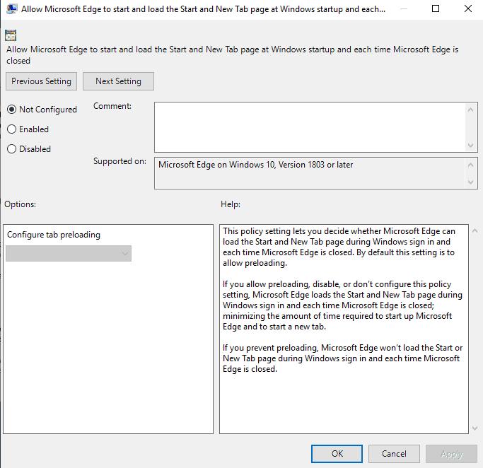 microsoft edge preload new tab start