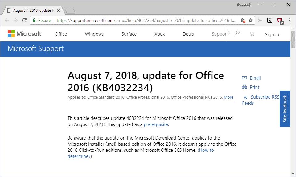 microsoft office 2016 august 2018 update