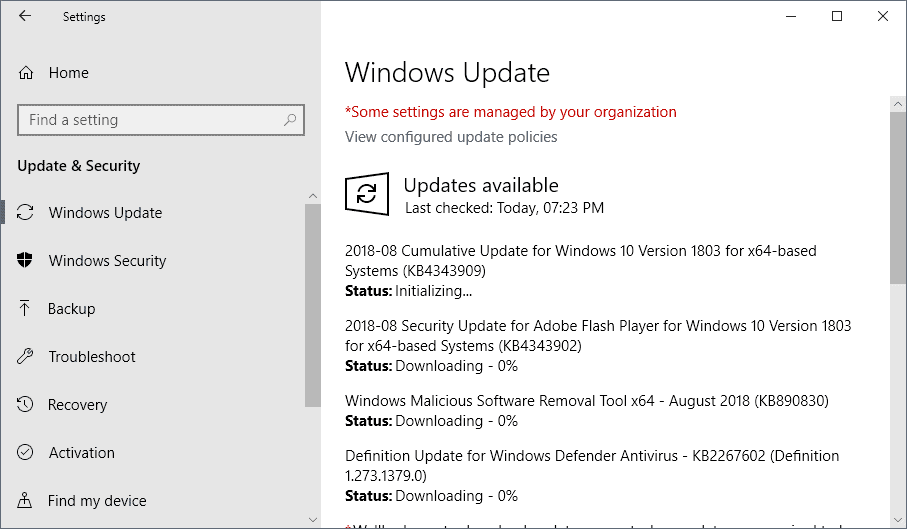Microsoft Windows Security Updates August 2018 release overview
