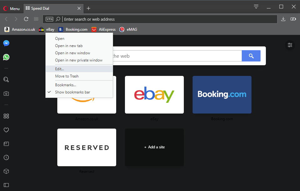opera bookmarks default