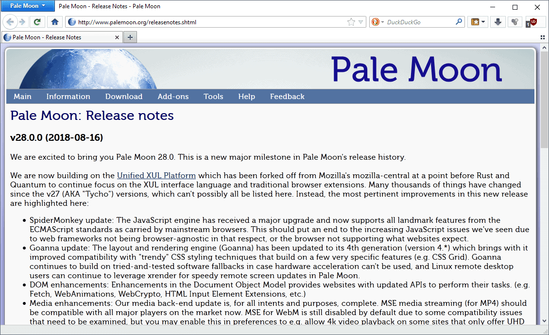 Pale Moon 28.0 Major Update released