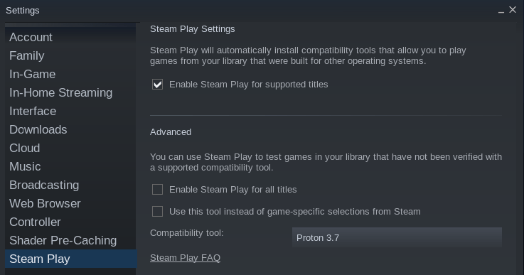 steam play linux