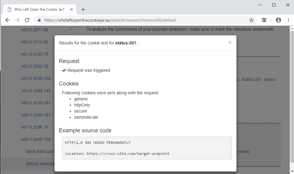 web browser issues cookies