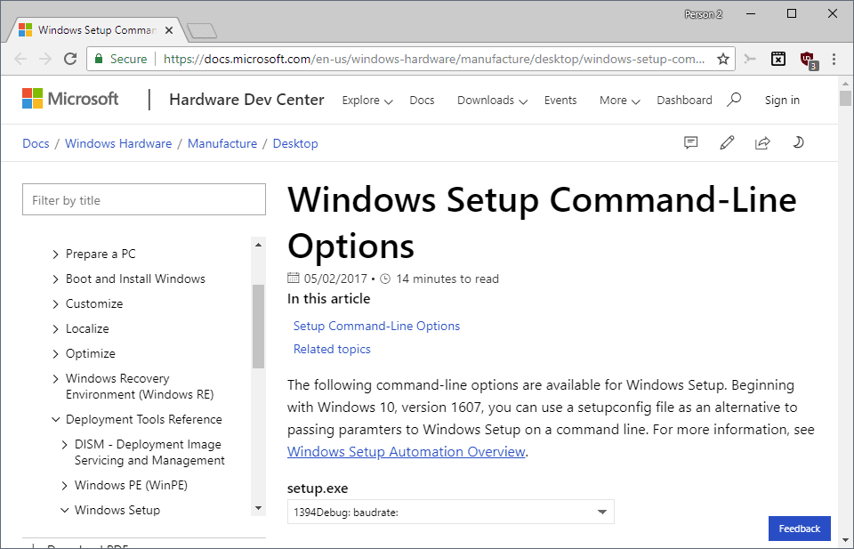 Windows 10 Setup Command Options