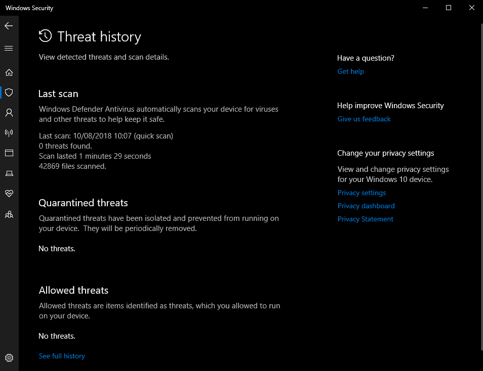 windows defender threat history