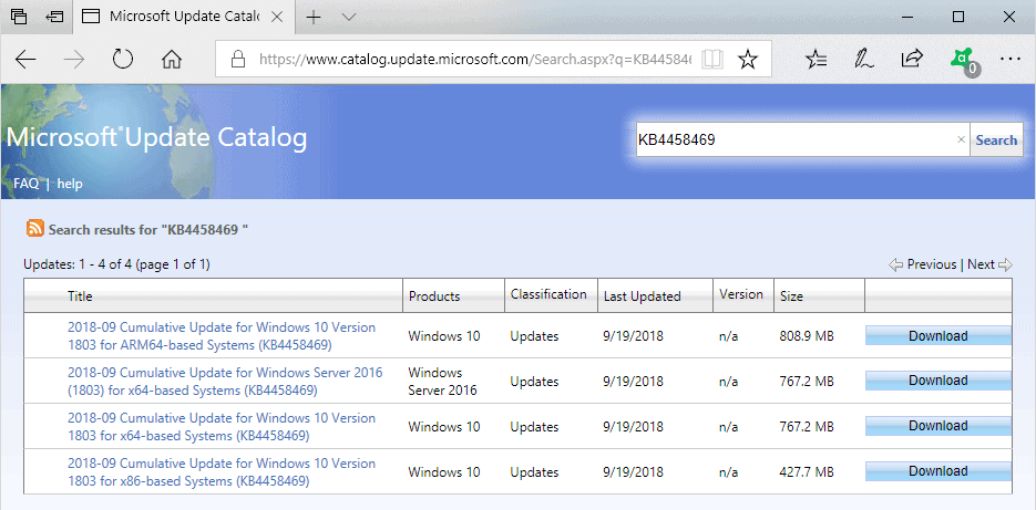 Windows 10 KB4458469, KB4457136, KB4457141 and KB4457127 updates