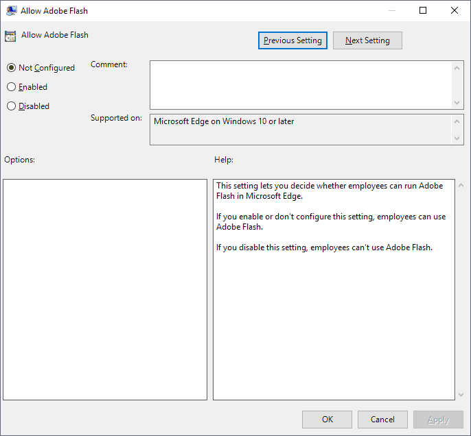 adobe flash disable edge group policy