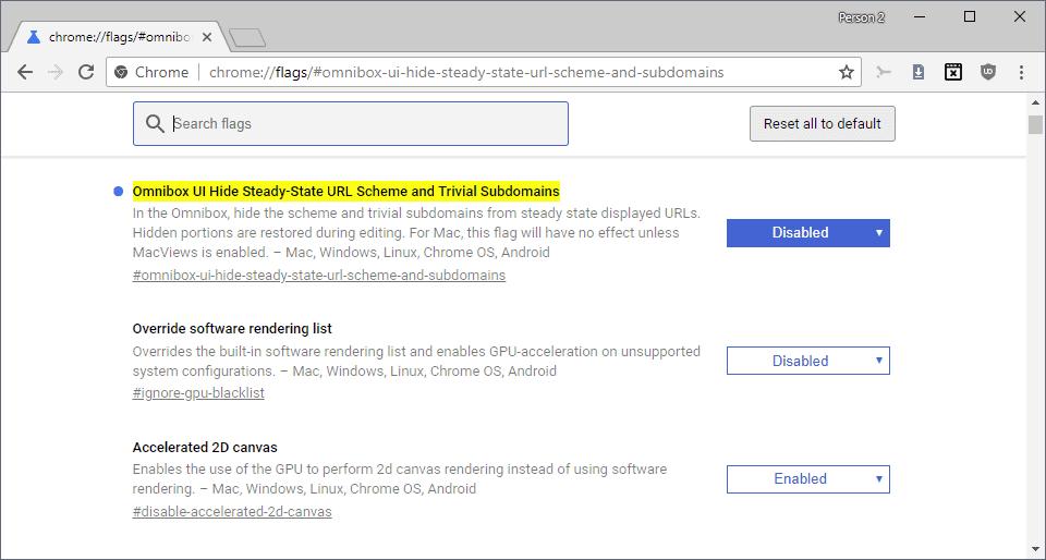chrome hide http https