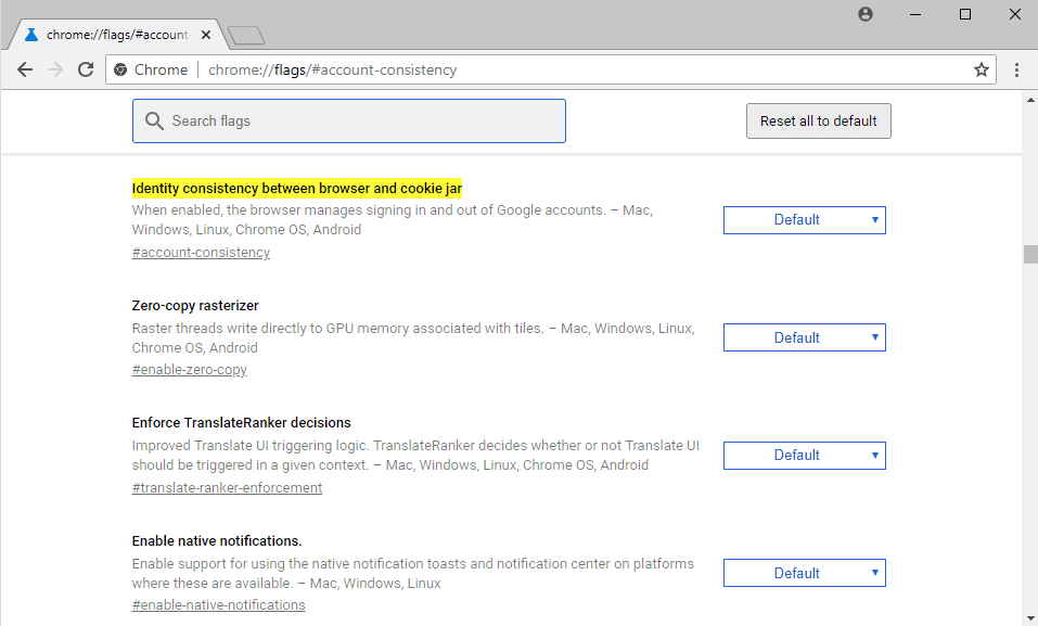 Disable the sign-out link between Chrome, Gmail and other Google