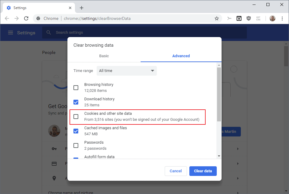 chrome wont be signed out clear browsing data