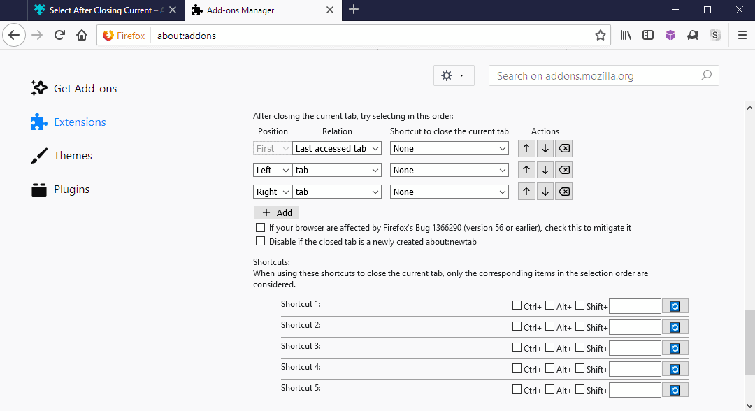 configure firefox tab open after close
