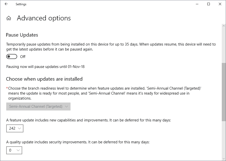 delay feature updates windows 10