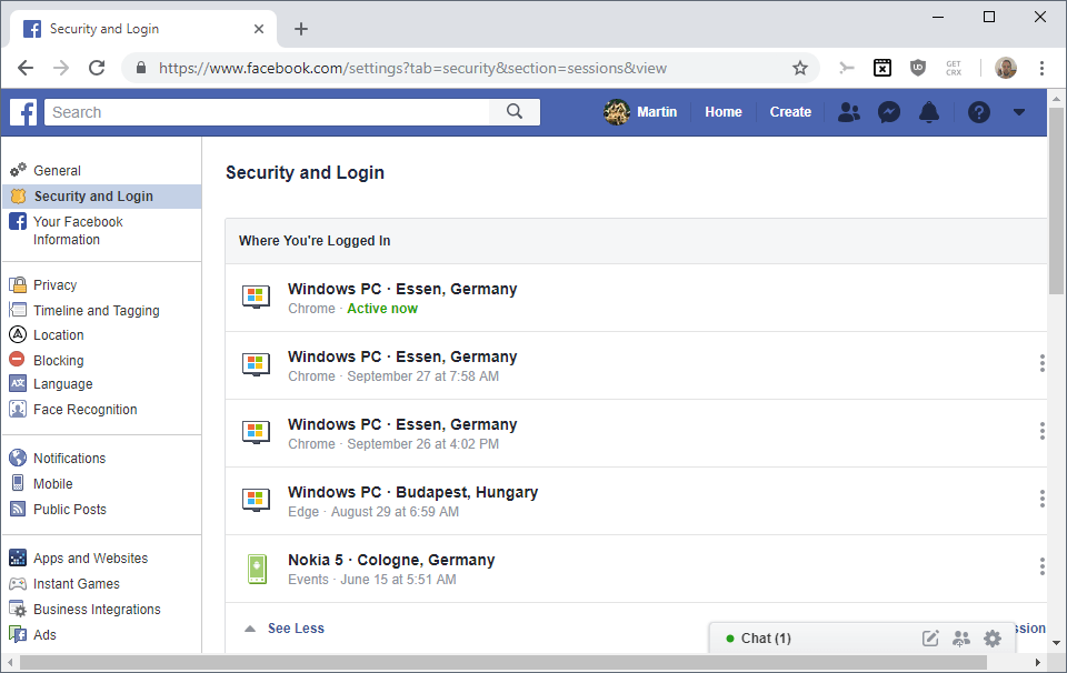 facebook security login