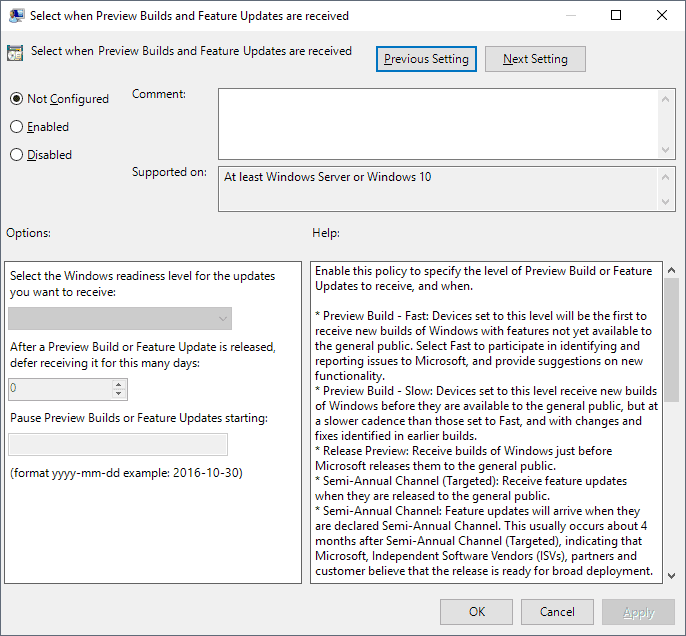 feature updates group policy