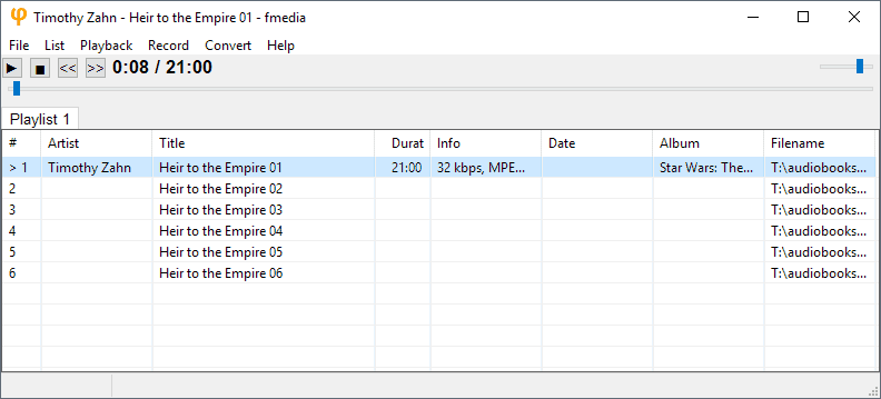 fmedia audio player converter